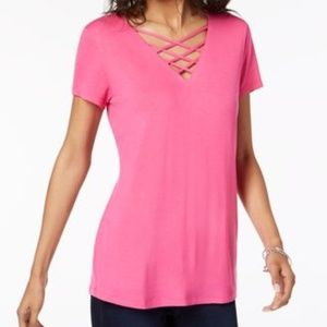 Lattice-Neck Top, Created For Intense Pink